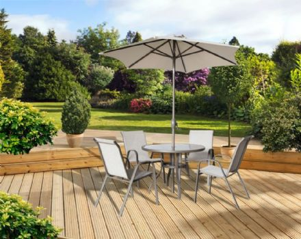 Pagoda Rhodes 4 Seat Set - With Parasol